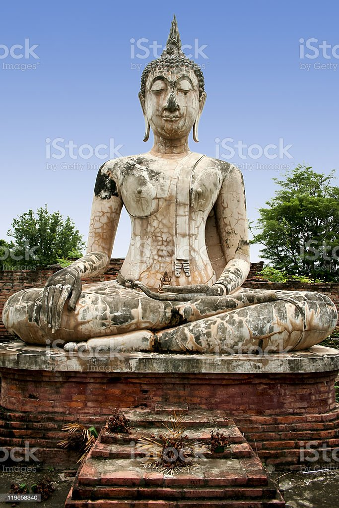 sukhothai big buddha temple ruins thailand royalty-free stock photo
