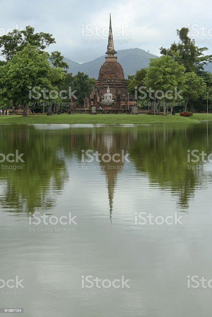 sukhothai lake temple reflections thailand royalty-free stock photo