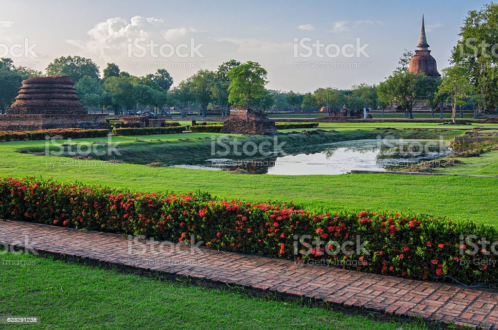 Sukhothai old ruins (Thailand) in Historical Park stock photo