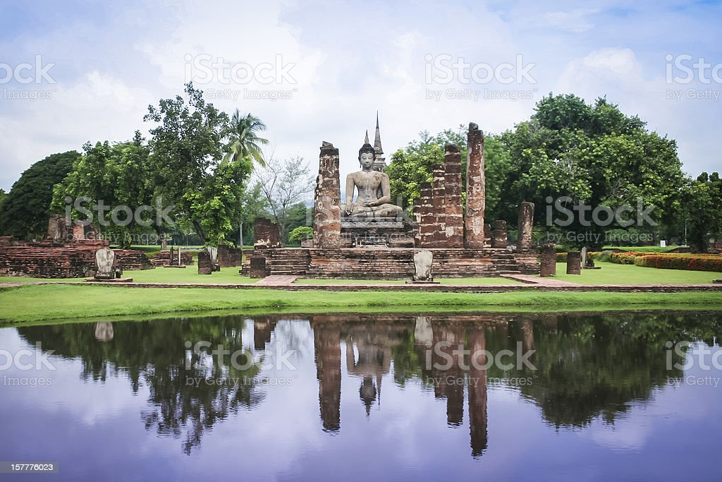 sukhothai ruins temple buddha statue thailand royalty-free stock photo