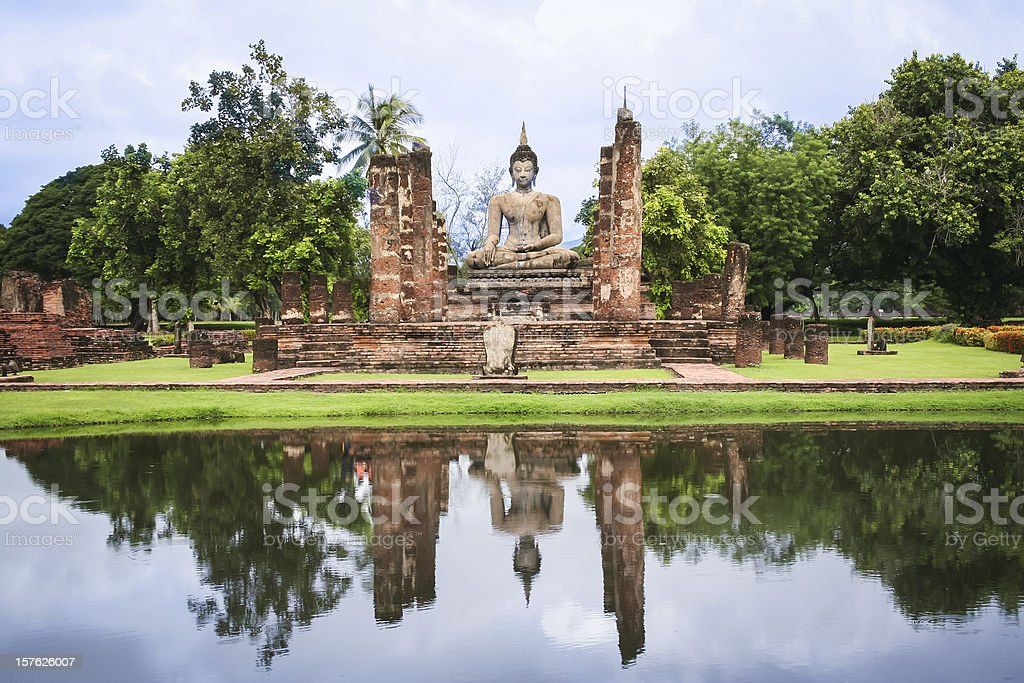 sukhothai ruins temple buddha thailand royalty-free stock photo