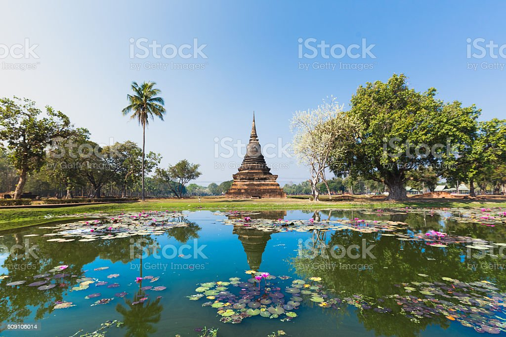 Sukhothai temple lake panorama stock photo