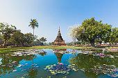 Sukhothai temple lake panorama