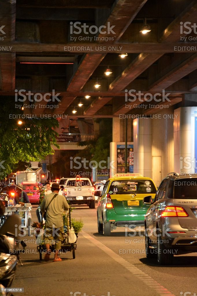 Sukhumvit road at night, Bangkok stock photo
