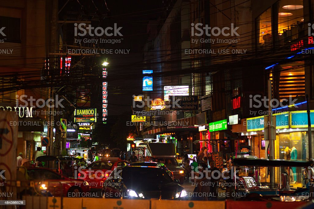 Sukhumvit Road Soi 8 at night stock photo