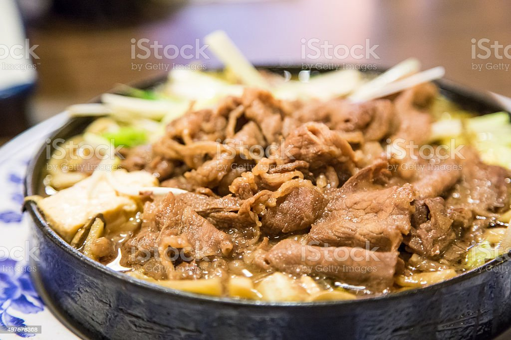 Sukiyaki beef and tofu stock photo