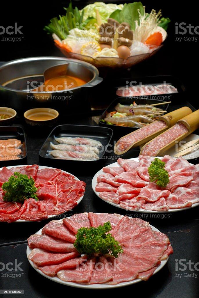 Sukiyaki Fresh Beef pork slices and Vegetable royalty-free stock photo