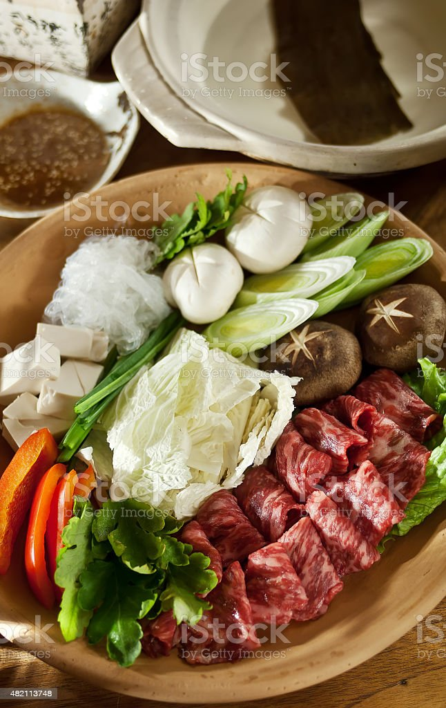 Sukiyaki Fresh marbled Beef slices, Vegetable, Dinner Set stock photo