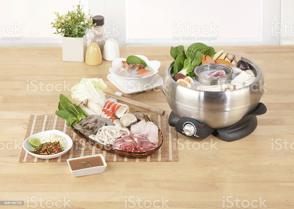 Sukiyaki pot in the kitchen interior royalty-free stock photo