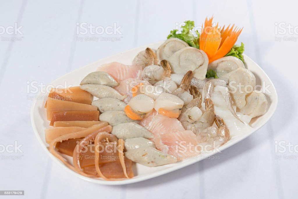 Sukiyaki seafood set stock photo