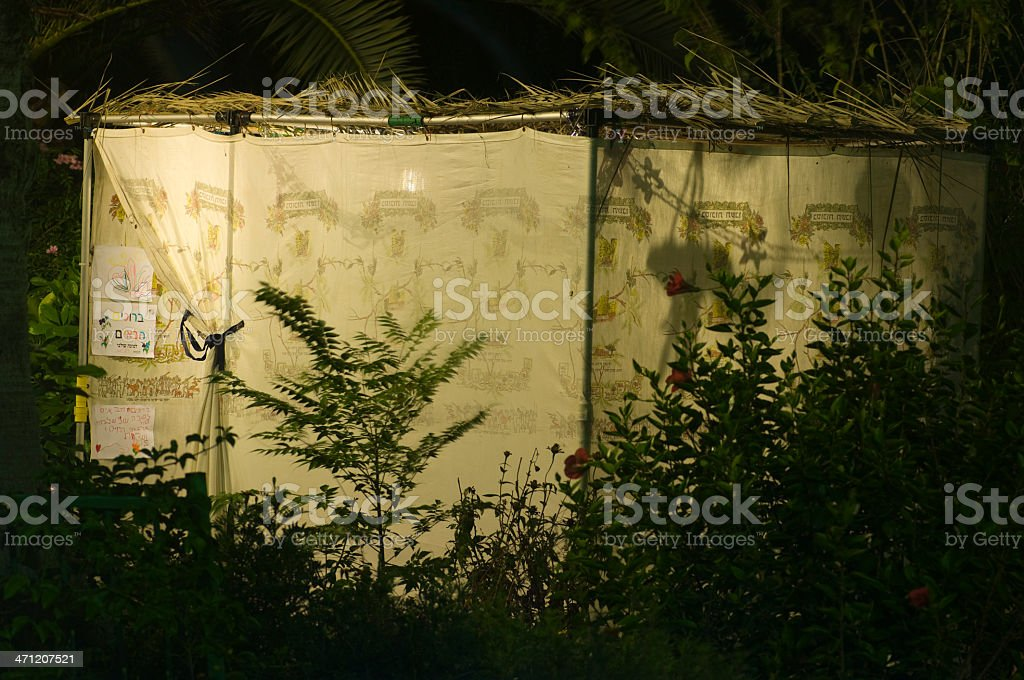 sukkah at night, Jewish ritual royalty-free stock photo