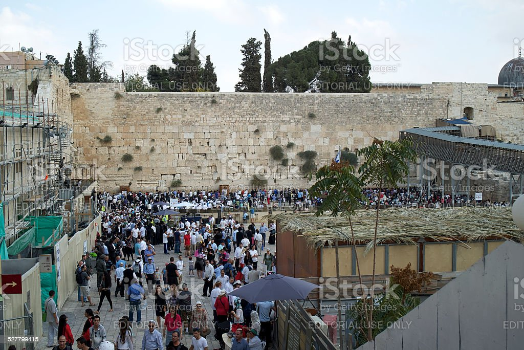 Sukkah in Front of Western Wall stock photo