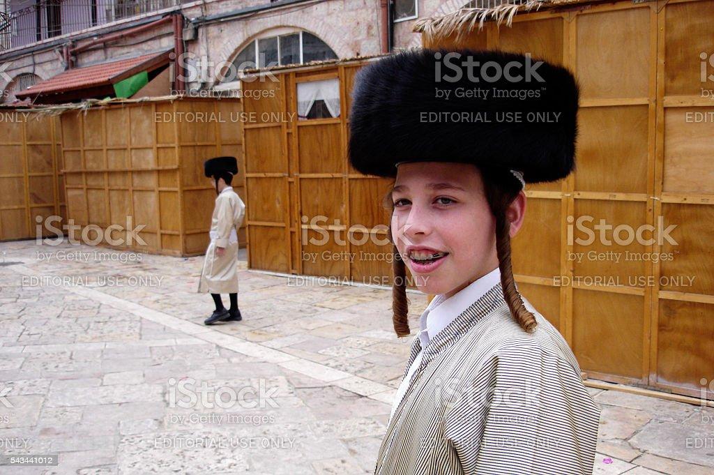 Sukkot Jewish holiday in Mea Shearim Jerusalem Israel. stock photo