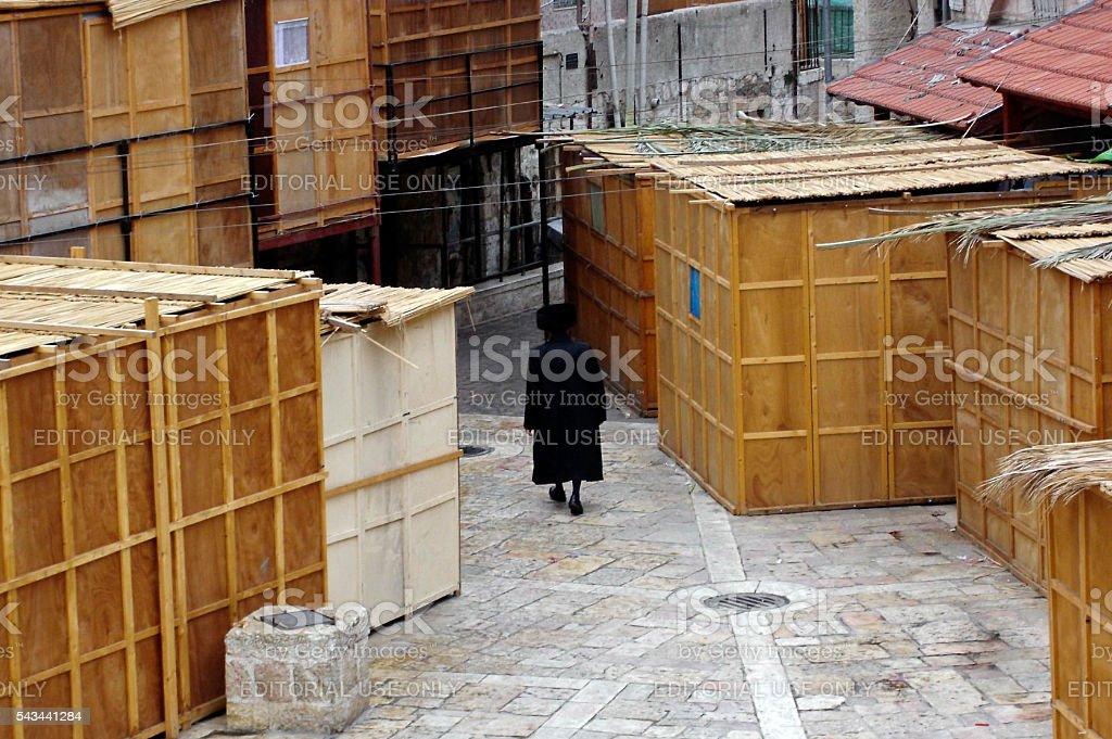 Sukkot Jewish Holiday in Mea Shearim Jerusalem Israel stock photo