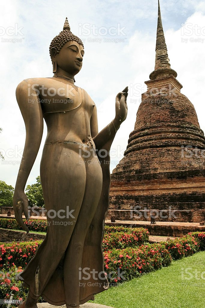 sukothai bronze buddha statue thailand royalty-free stock photo