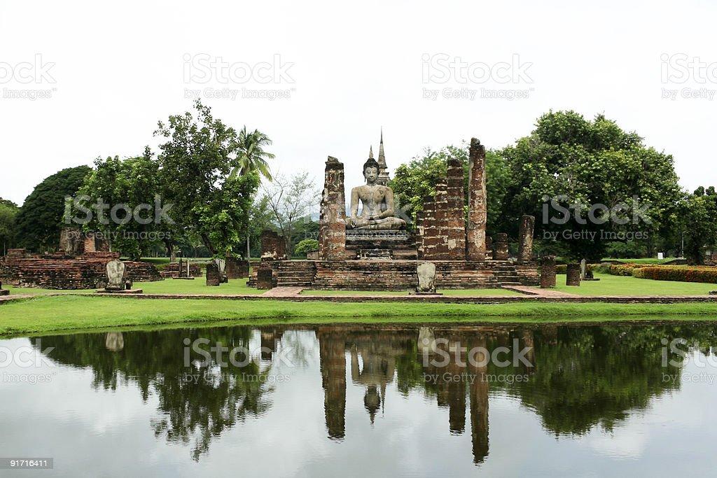 sukothai buddha lake reflections thailand royalty-free stock photo