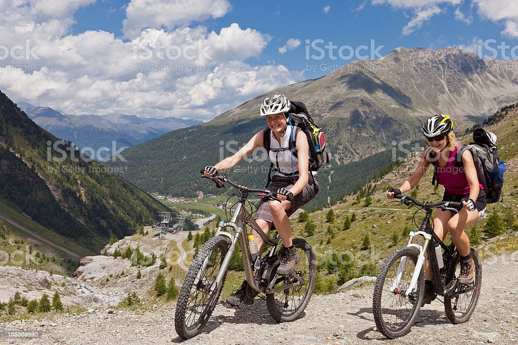 Sulden Lady?s Biking, South Tyrol royalty-free stock photo