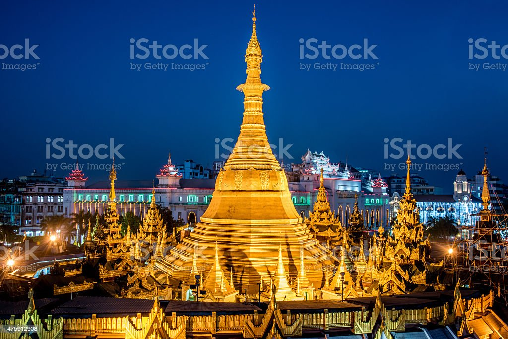 Sule Pagoda at Night Yangon Myanmar Burma stock photo
