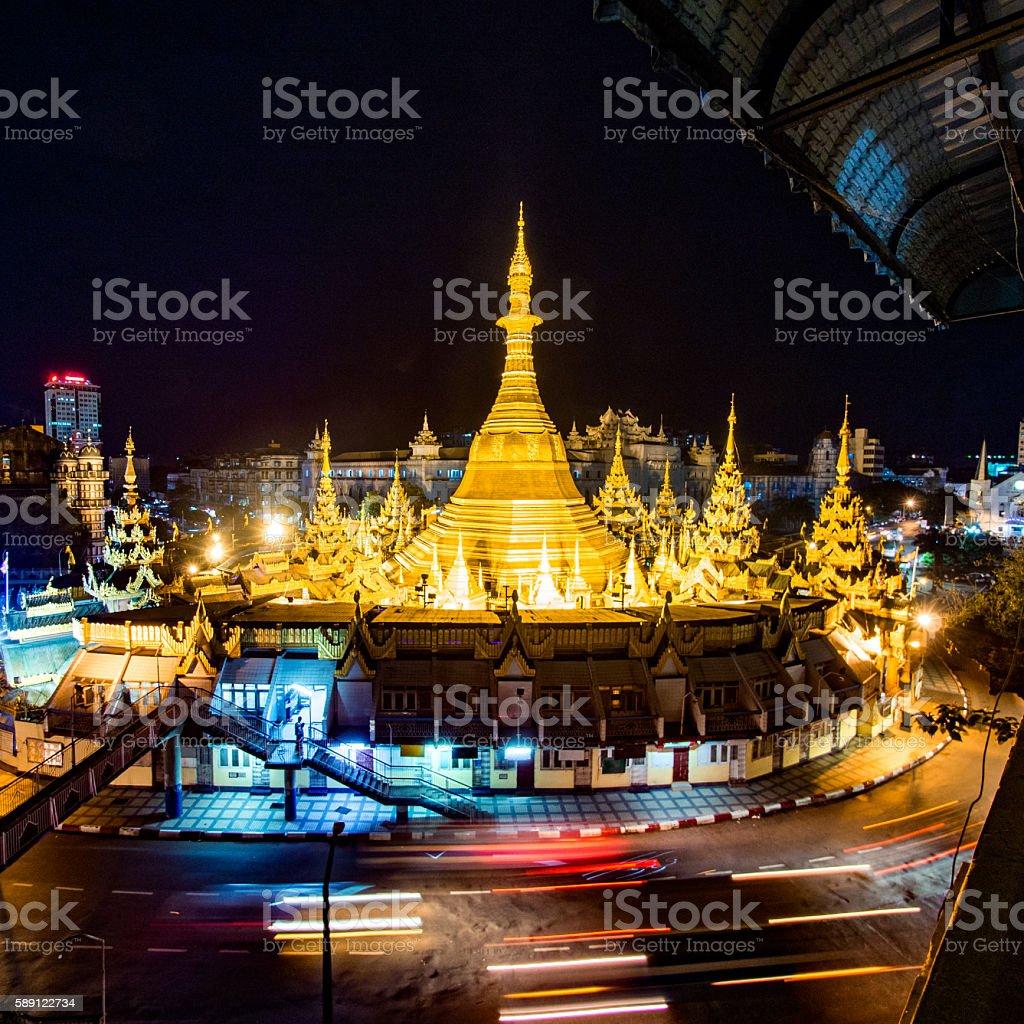 Sule Paya in Yangon, Myanmar stock photo