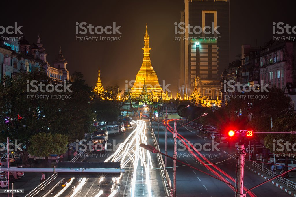 Sulepaya pagoda at Yangon the old capital city of Myanmar. stock photo