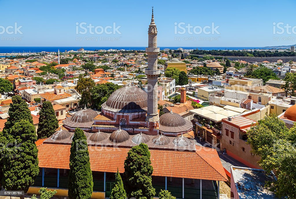 Suleyman Mosque in old town of Rhodes.Rhodes island.Greece stock photo
