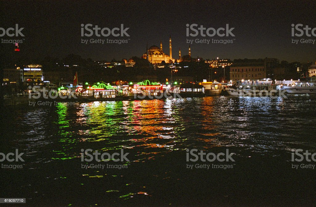 Suleymanie Mosque from the Galata Bridge in Istanbul. stock photo