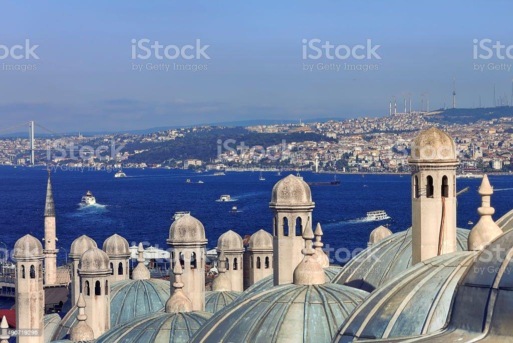 Suleymaniye Mosque and Bosphorus Bridge; Istanbul, Turkey stock photo