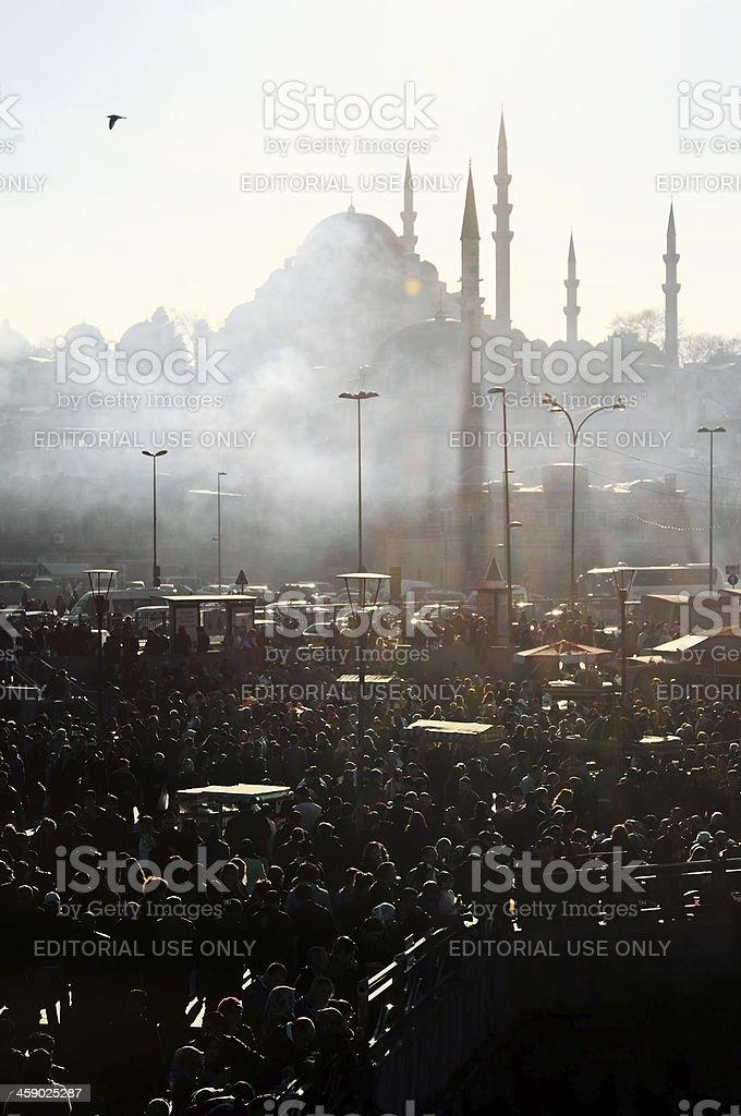 Suleymaniye Mosque and Fog royalty-free stock photo
