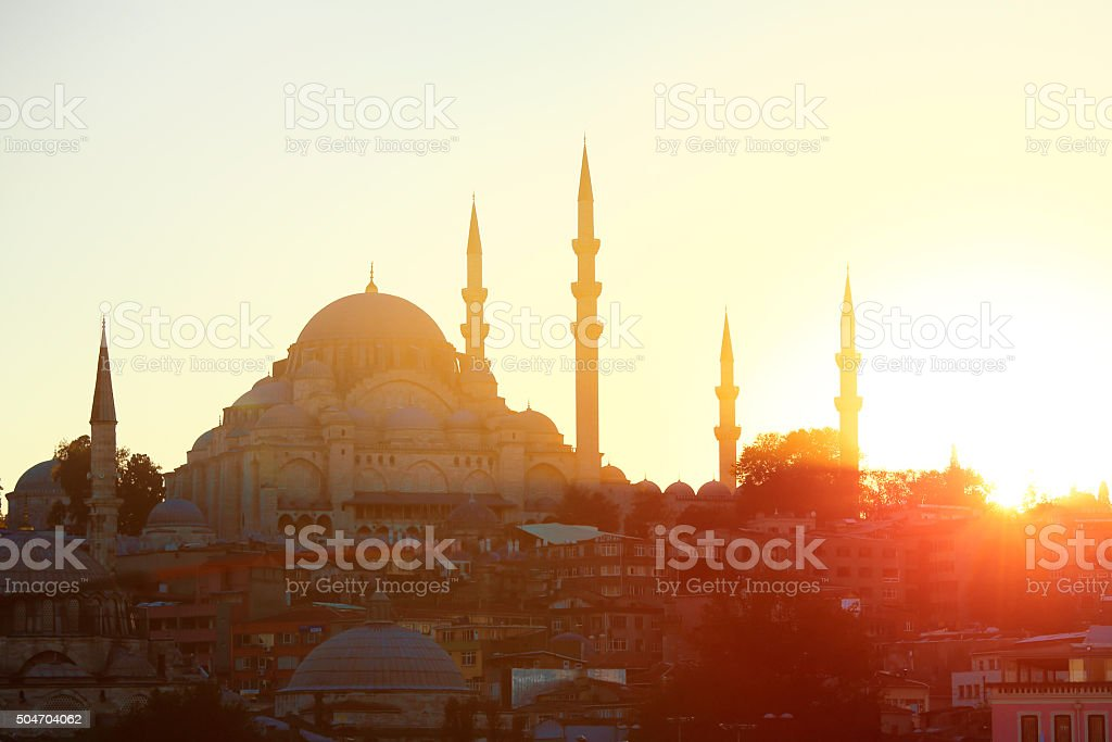 Suleymaniye Mosque and Sunlight stock photo