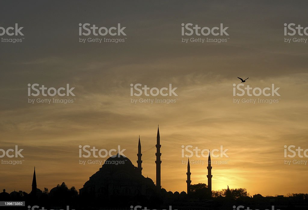 Suleymaniye Mosque at Sunset stock photo