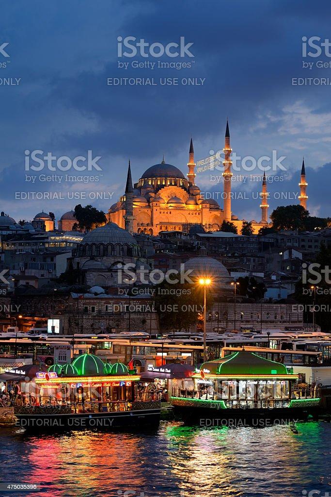 Suleymaniye Mosque in Eminonu, Istanbul, Turkey. stock photo