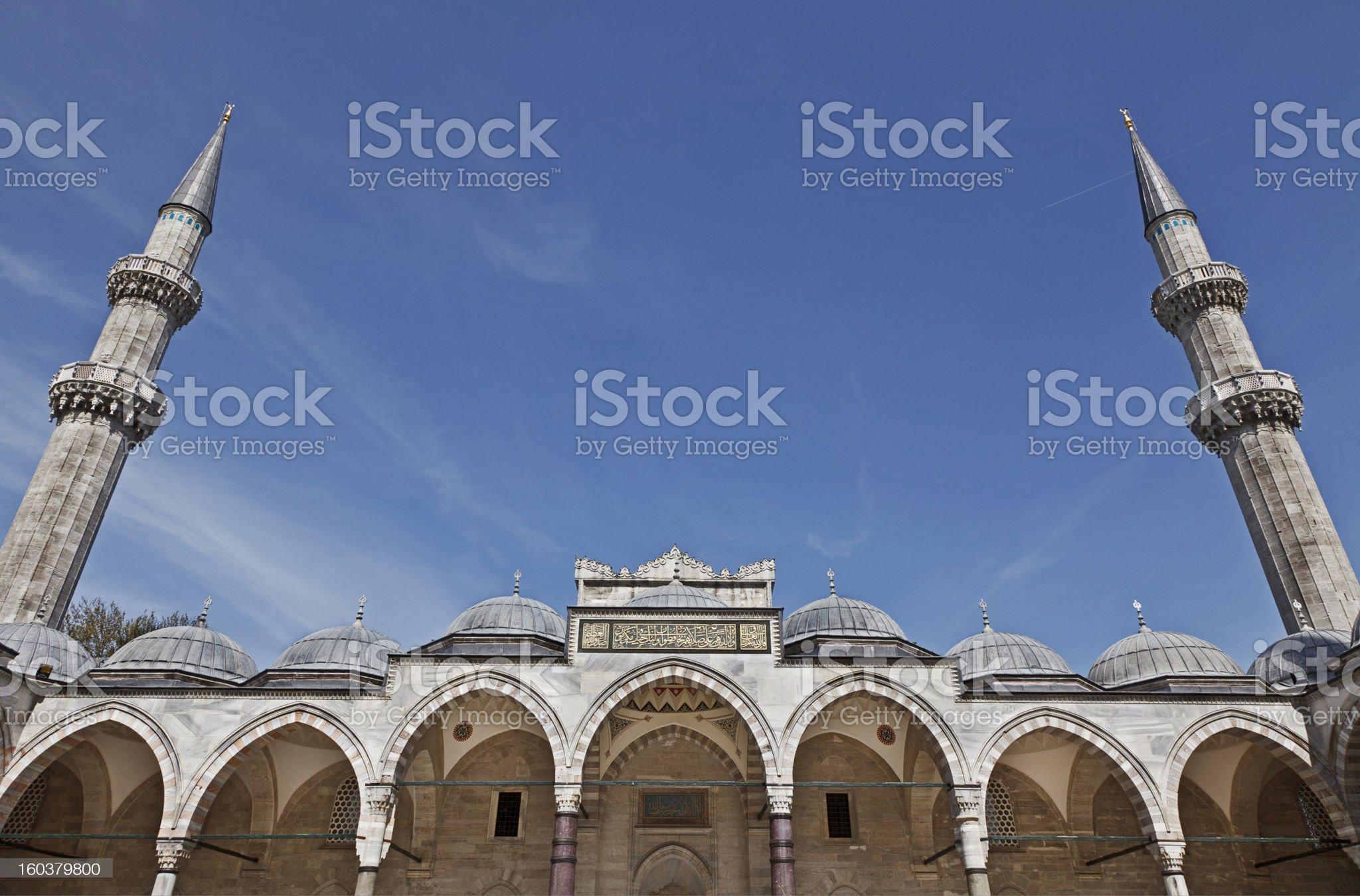 Suleymaniye Mosque in Istanbul Turkey - innercourt royalty-free stock photo