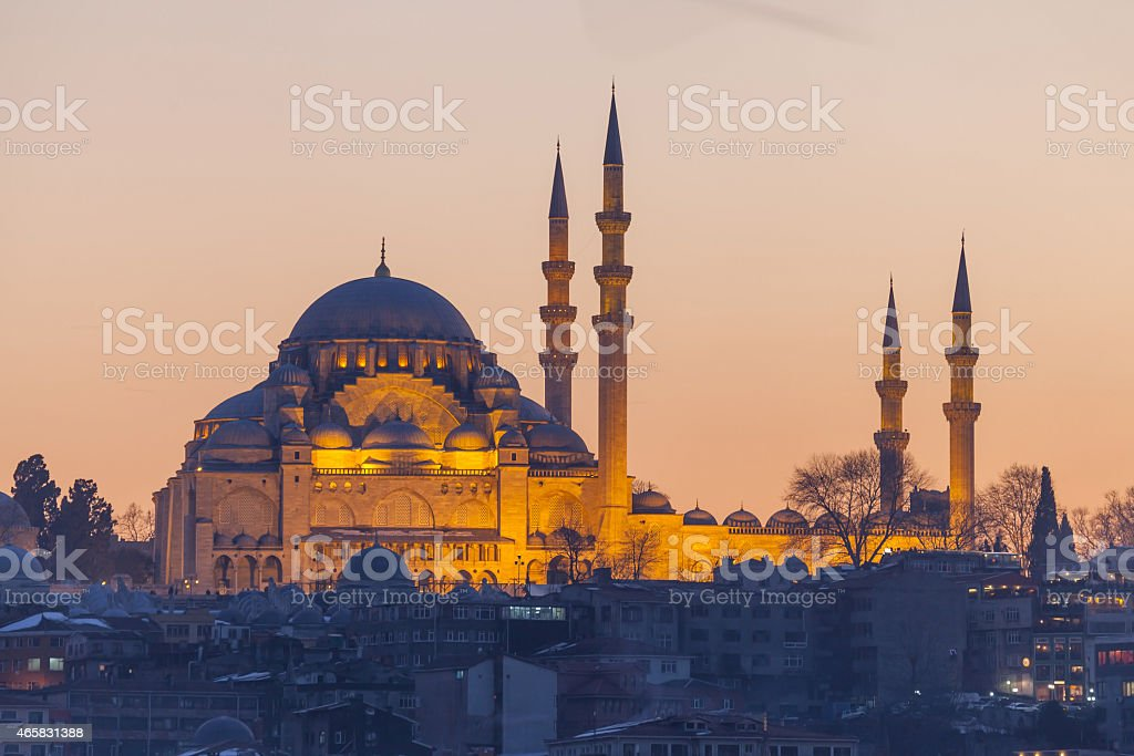Suleymaniye mosque in the evening, Istanbul stock photo