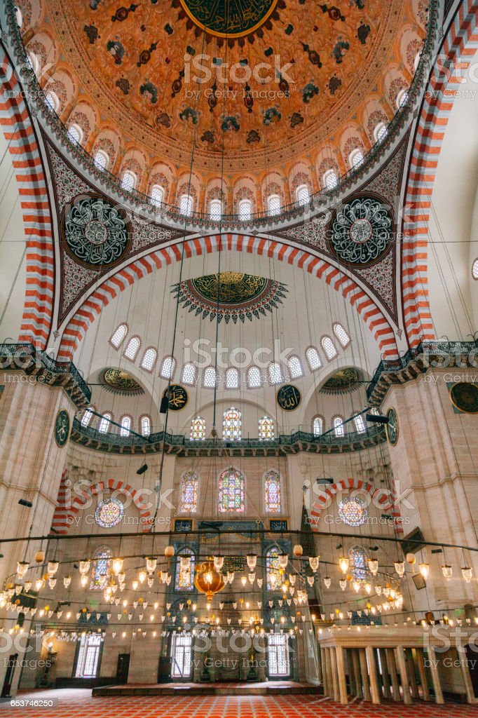Suleymaniye Mosque interior, Istanbul, Turkey stock photo