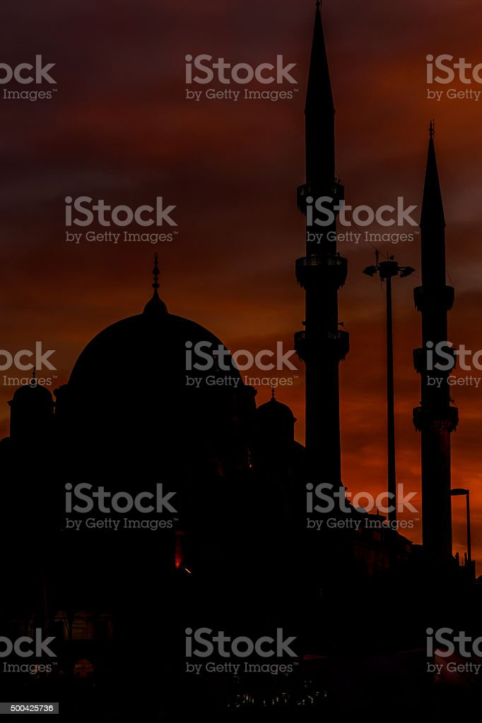 Suleymaniye Mosque silhouette at sunset and seagull stock photo