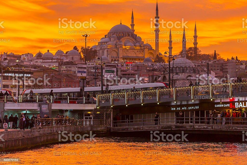 Suleymaniye silhouette at sunset stock photo