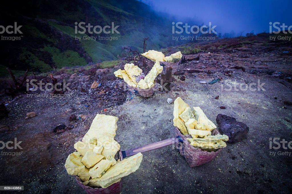 Sulfur carries basket stock photo
