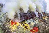 Sulfur Mine at Kawah Ijen Volcano