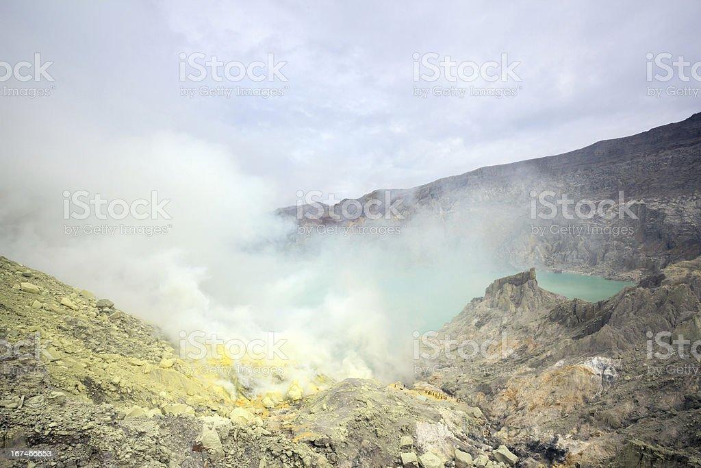 Sulfur Mine at Khawa Ijen Volcano stock photo