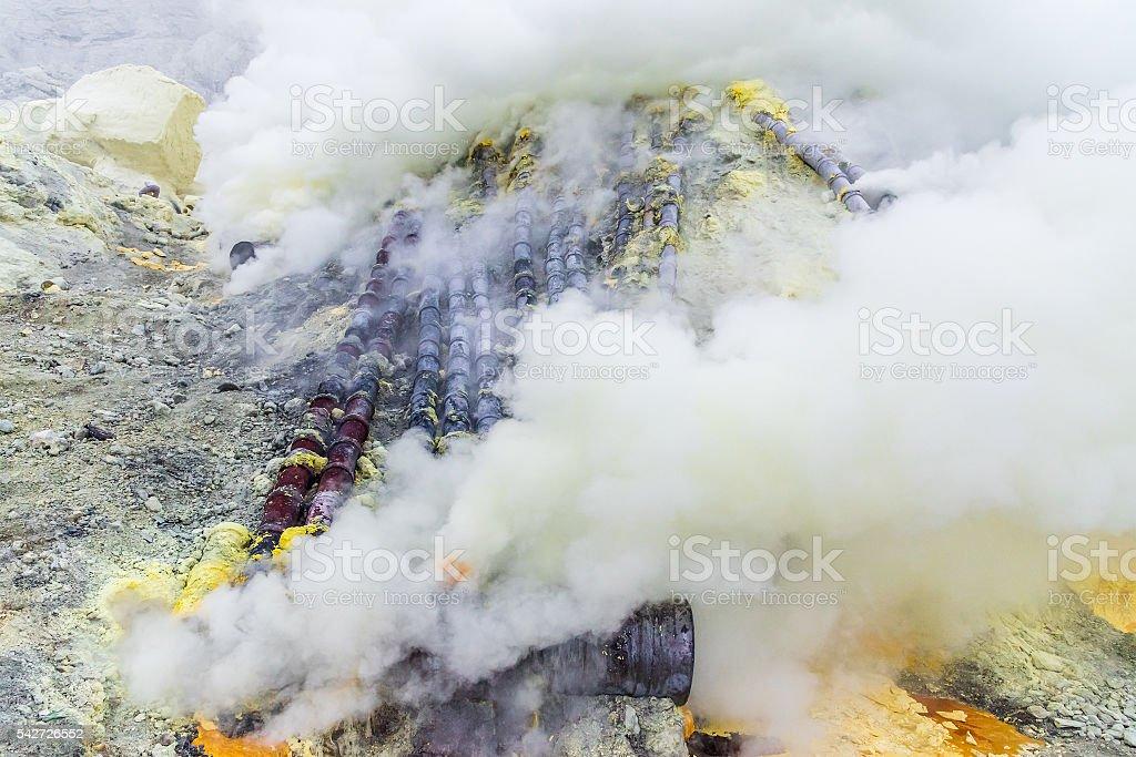 Sulfur mine Inside crater of Ijen volcano, East Java, Indonesia stock photo
