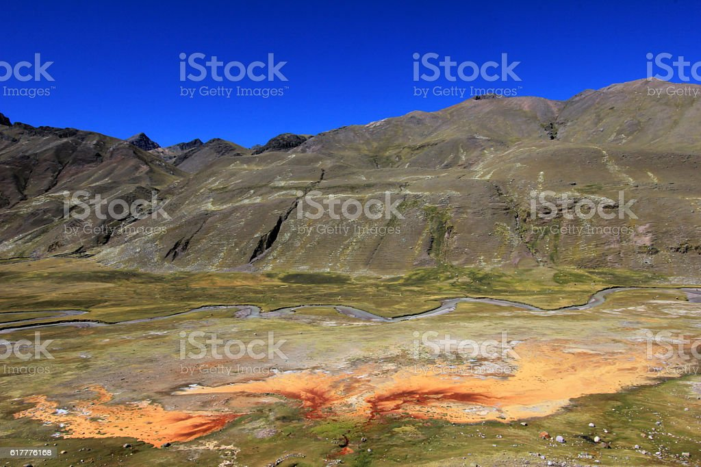 Sulfur stream in the andean mountains of Peru stock photo