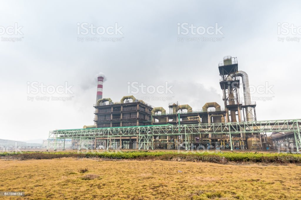 sulfuric acid factory stock photo