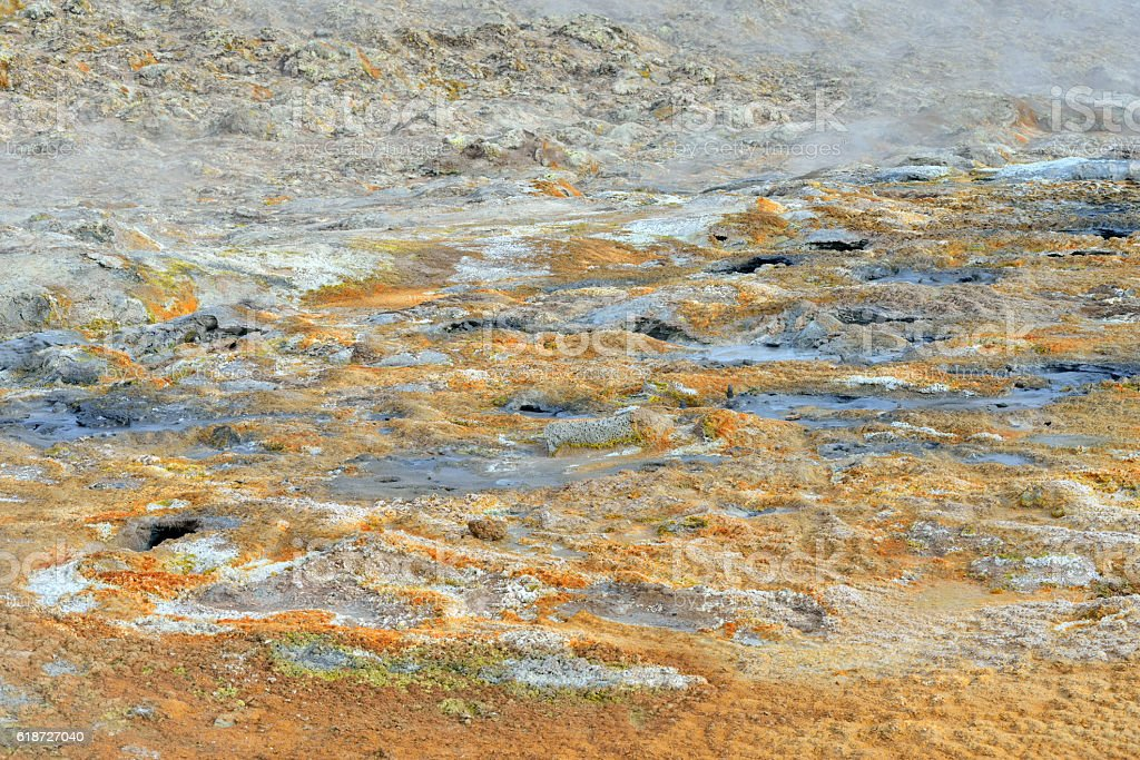 Sulfuric Earth at Namafjall Hverir in Iceland stock photo