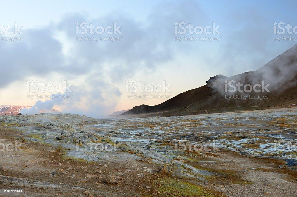 Sulfuric martian landscape at Namaskard in Iceland stock photo
