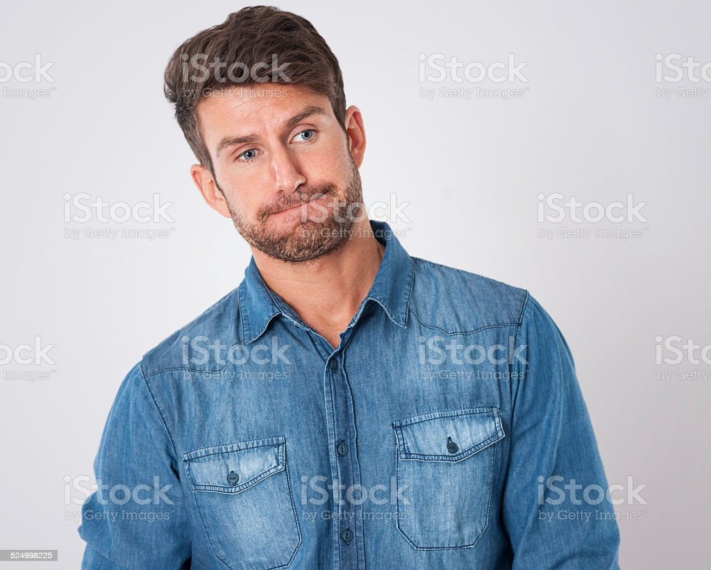 Sulking man after defeat of life stock photo