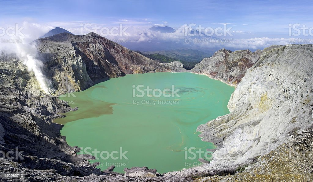 Sulphatic lake in a crater of volcano Ijen. Indonesia royalty-free stock photo