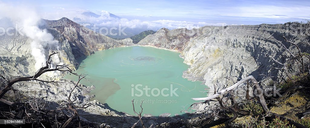 Sulphatic lake in a crater of volcano Ijen royalty-free stock photo
