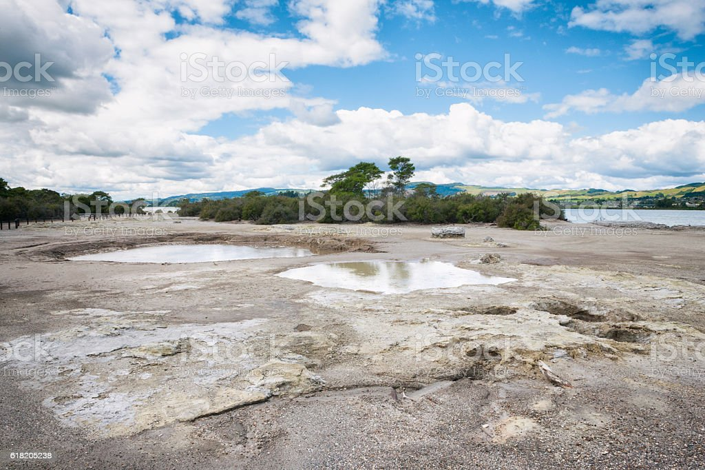Sulphur Flats on edge of Lake Rotorua in New Zealand stock photo