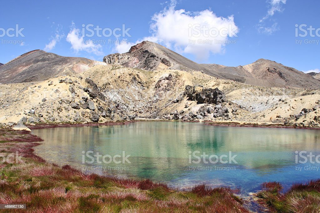Sulphur lake in front of a mountains range royalty-free stock photo