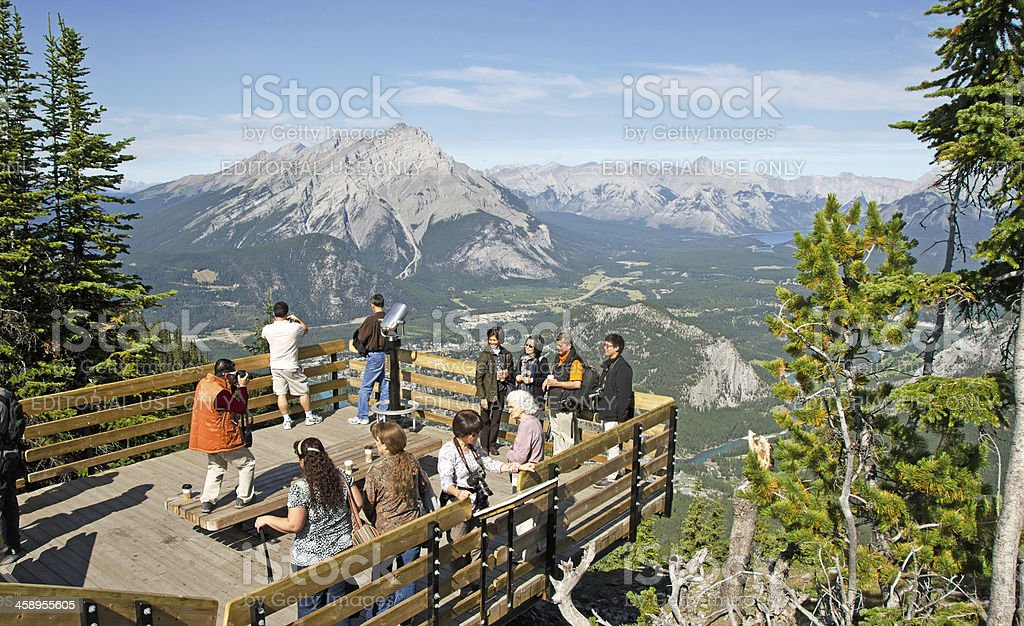 Sulphur Mountain Gondola Lookout Walkway Resy Area stock photo
